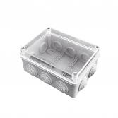 Коробка распаячная КМР-050-041пк пылевлагозащищенная,10 мембранных вводов, уплотнительный шнур, прозрачная крышкой (156х113х77)  EKF PROxima