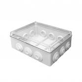 Коробка распаячная КМР-050-043пк пылевлагозащищенная, 12 мембранных вводов, уплотнительный шнур, прозрачная крышка (244х190х95) EKF PROxima
