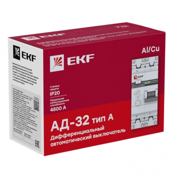 Дифференциальный автомат АД-32 1P+N 63А/100мА (тип А) EKF PROxima