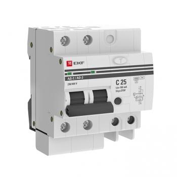 Дифференциальный автомат АД-2 25А/100мА (хар. C, AC, электронный, защита 270В) 4,5кА EKF PROxima