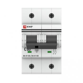 Автоматический выключатель 2P  80А (C) 15кА ВА 47-125 EKF PROxima