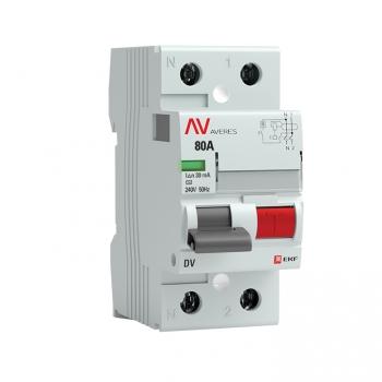 Устройство защитного отключения DV 2P  80А/ 30мА (AC) EKF AVERES