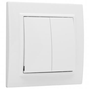 Минск Выключатель 2-клавишный СП,10А, белый EKF Basic