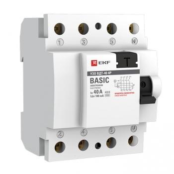 Устройство защитного отключения УЗО ВДТ-40 4P 40А/100мА (электронное) EKF Basic
