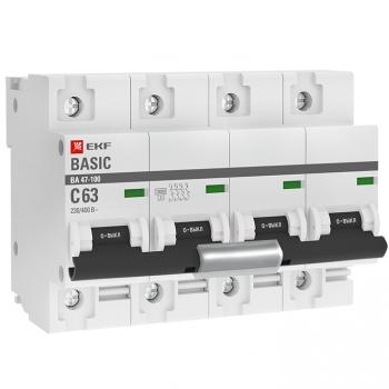 Автоматический выключатель 4P  63А (C) 10kA ВА 47-100 EKF Basic