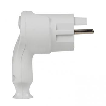 Вилка с кнопкой извлечения с/з белая 16А 250В EKF