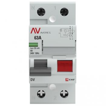 Устройство защитного отключения DV 2P  63А/ 30мА (A) EKF AVERES