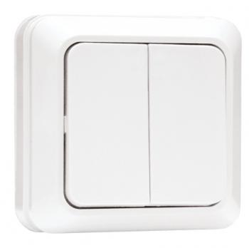 Рим Выключатель 2-клавишный 10А белый EKF