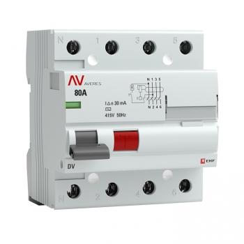 Устройство защитного отключения DV 4P  80А/ 30мА (AC) EKF AVERES