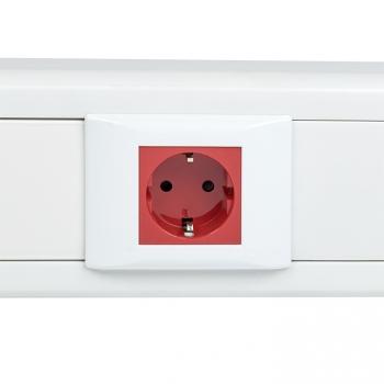 Розетка 45х45 (2 модуля), с заземлением, красная, прямая