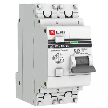 Дифференциальный автомат АД-32 (селективный) 1P+N 25А/100мА EKF PROxima