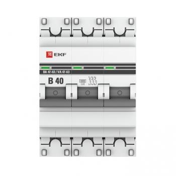 Автоматический выключатель 3P 40А (B) 6кА ВА 47-63 EKF PROxima