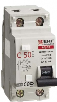 Дифференциальный автомат АД-32 40А/100мА (характеристика C, тип AC) 4,5кА EKF
