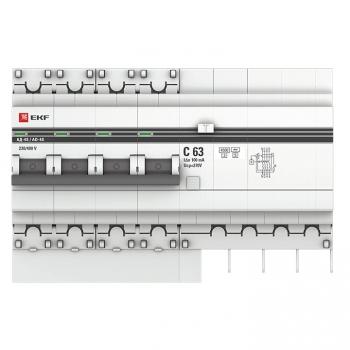 Дифференциальный автомат АД-4 S 63А/100мА (хар. C, AC, электронный, защита 270В) 4,5кА EKF PROxima
