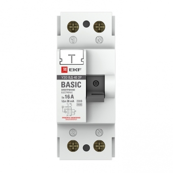Устройство защитного отключения УЗО ВД-40 2P 40А/100мА (электронное) EKF Basic
