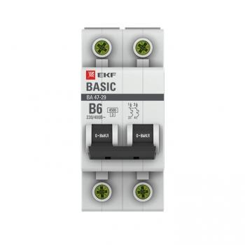 Автоматический выключатель 2P  6А (B) 4,5кА ВА 47-29 EKF Basic