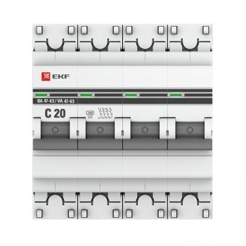 Автоматический выключатель 4P 20А (C) 4,5kA ВА 47-63 EKF PROxima