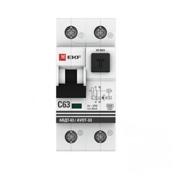 Дифференциальный автомат АВДТ-63 20А/30мА (хар-ка C, электронный тип A) 6кА EKF PROxima