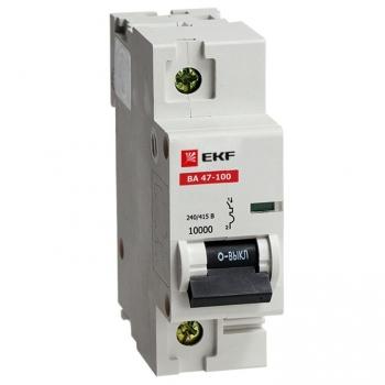 Автоматический выключатель ВА 47-100, 1P 80А (C) 10kA EKF