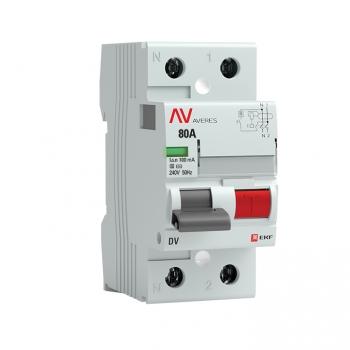 Устройство защитного отключения DV 2P  80А/100мА (S) EKF AVERES