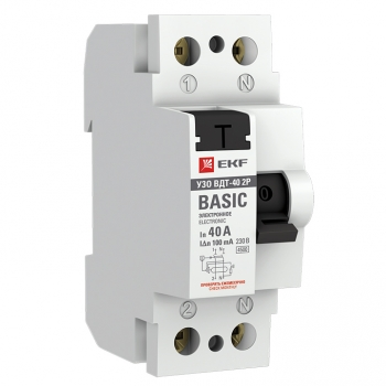Устройство защитного отключения УЗО ВДТ-40 2P 40А/100мА (электронное) EKF Basic