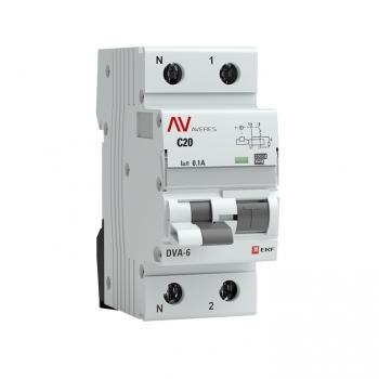 Дифференциальный автомат DVA-6 1P+N 20А (C) 100мА (A) 6кА EKF AVERES
