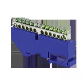 "Шина ""0"" N (6x9мм) 14 отв. цинк синий изолятор на DIN-рейку EKF PROxima"