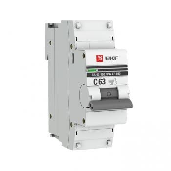 Автоматический выключатель 1P  63А (C) 10kA ВА 47-100 EKF PROxima