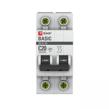 Автоматический выключатель 2P 20А (C) 4,5кА ВА 47-29 EKF Basic