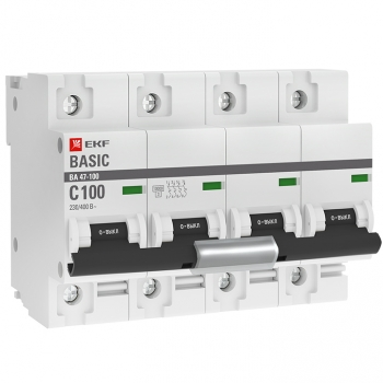 Автоматический выключатель 4P 100А (C) 10kA ВА 47-100 EKF Basic