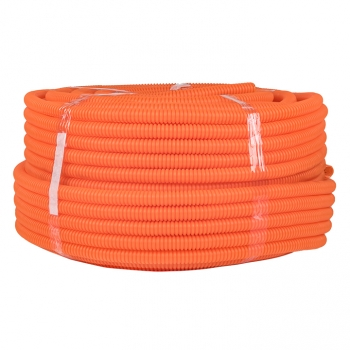 Труба ПНД гибкая гофр. д.20мм, тяжёлая с протяжкой, 100м, цвет оранжевый