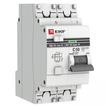 Дифференциальный автомат АД-32 1P+N 50А/30мА (тип А) EKF PROxima
