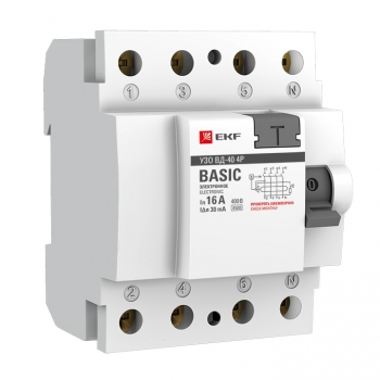 Устройство защитного отключения УЗО ВД-40 4P 40А/100мА (электронное) EKF Basic