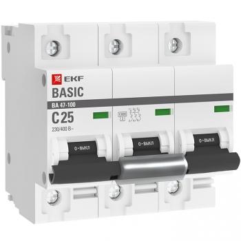 Автоматический выключатель 3P  25А (C) 10kA ВА 47-100 EKF Basic
