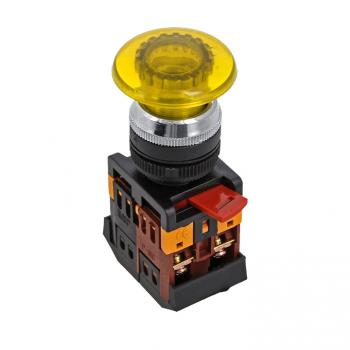 Кнопка AELA-22 желтая с подсветкой NO+NC 380В Грибок EKF PROxima
