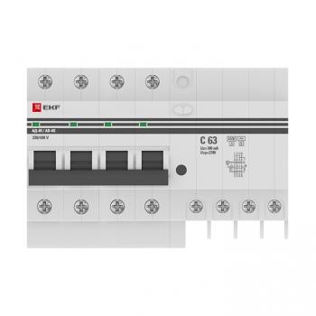 Дифференциальный автомат АД-4 S 63А/300мА (хар. C, AC, электронный, защита 270В) 4,5кА EKF PROxima