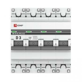 Автоматический выключатель 4P  3А (D) 4,5kA ВА 47-63 EKF PROxima