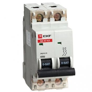 Автоматический выключатель ВА 47-63 6кА, 2P 20А (C) EKF