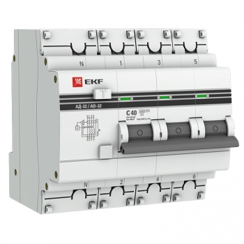 Дифференциальный автомат АД-32 3P+N 40А/30мА (хар. C, AC, электронный, защита 270В) 4,5кА EKF PROxima