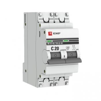 Автоматический выключатель 2P 20А (C) 4,5kA ВА 47-63 EKF PROxima