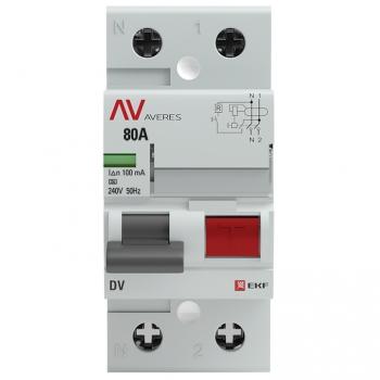 Устройство защитного отключения DV 2P  80А/100мА (A) EKF AVERES