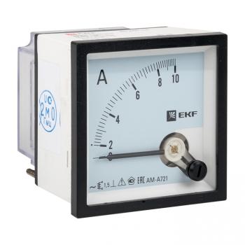 Амперметр AMA-721 аналоговый на панель (72х72) квадратный вырез 10А прямое подкл. EKF
