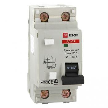 Дифференциальный автомат АД-32 20А/30мА (характеристика C, тип AC) 4,5кА EKF