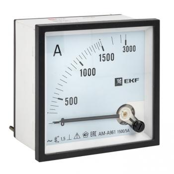 Амперметр AMA-961 аналоговый на панель (96х96) квадратный вырез 1500А трансф. подкл. EKF