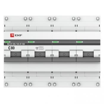 Автоматический выключатель 4P  80А (C) 10kA ВА 47-100 EKF PROxima
