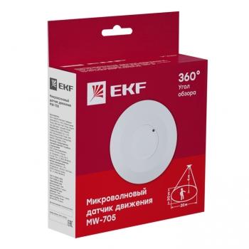 Микроволновый датчик движения бел. 2000Вт 360гр. до 20м IP20 MW-705 EKF PROxima