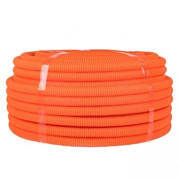 Труба ПНД гибкая гофр. д.25мм, тяжёлая с протяжкой, 50м, цвет оранжевый