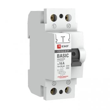 Устройство защитного отключения УЗО ВД-40 2P 63А/100мА (электронное) EKF Basic