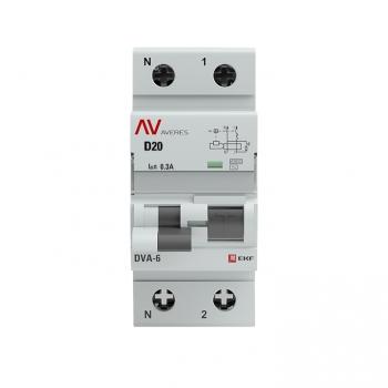 Дифференциальный автомат DVA-6 1P+N 20А (D) 300мА (AC) 6кА EKF AVERES