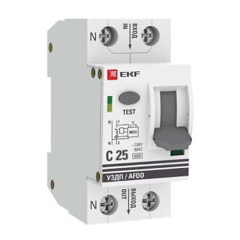 Устройство защиты от дугового пробоя 1P+N 25А (C) 6 кА УЗДП EKF PROxima